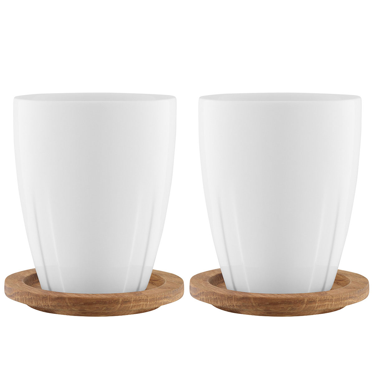 Kosta Boda Bruk Porcelain Mug With Oak Lid, Pair