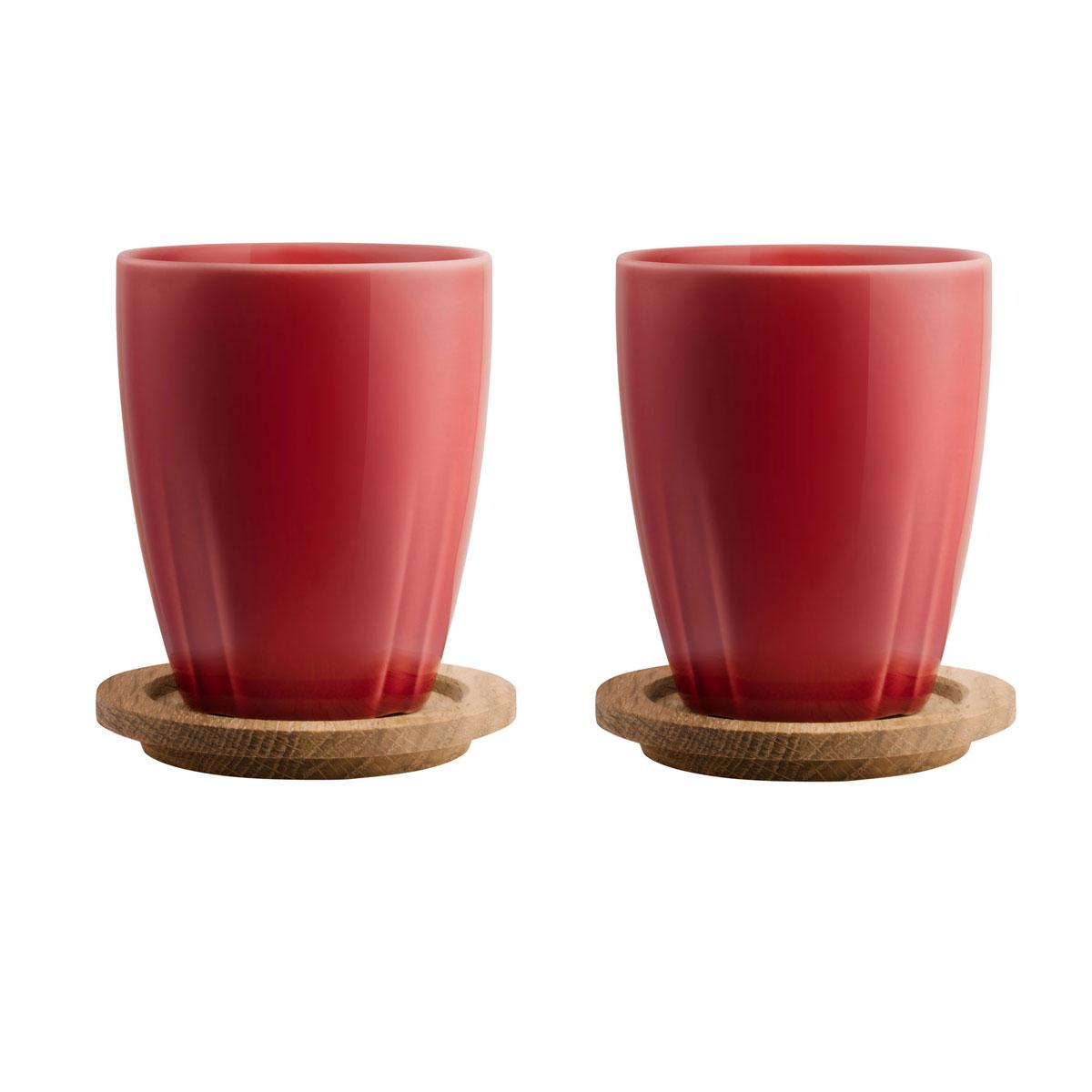 Kosta Boda Bruk Mug with Oak Lid, Set of 2, Bordeaux Red