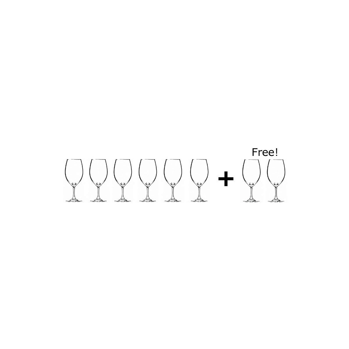 Riedel Ouverture, Magnum Glass Crystal Wine Glasses Set 6 + 2 Free