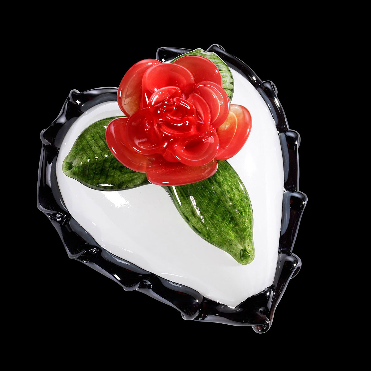 Kosta Boda Art Glass Ludvig Lofgren Old School, White and Red Heart