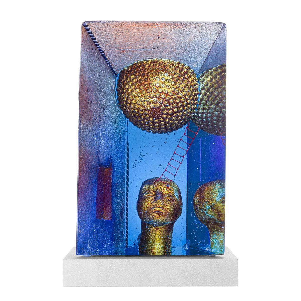 Kosta Boda Art Glass Bertil Vallien Blue Moon Sculpture, Limited Edtion of 100