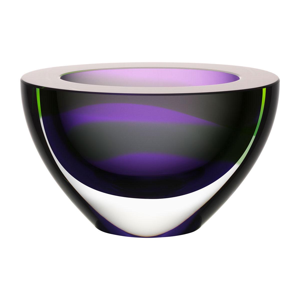Kosta Boda Art Glass, Ludvig Lofgren Oval Crystal Bowl Purple, Limited Edition