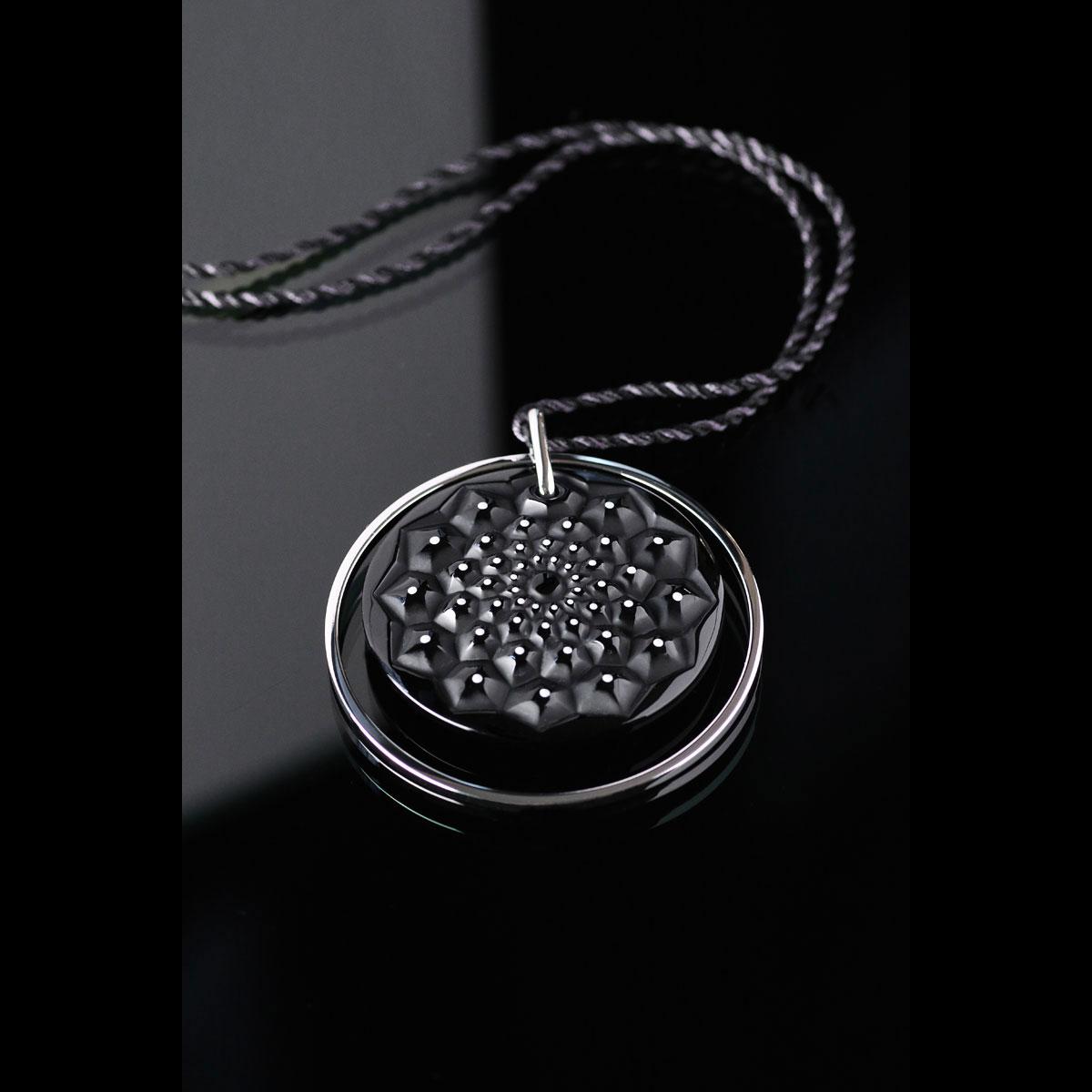 Lalique Crystal Cactus De Lalique Medallion, Black and White Enamel