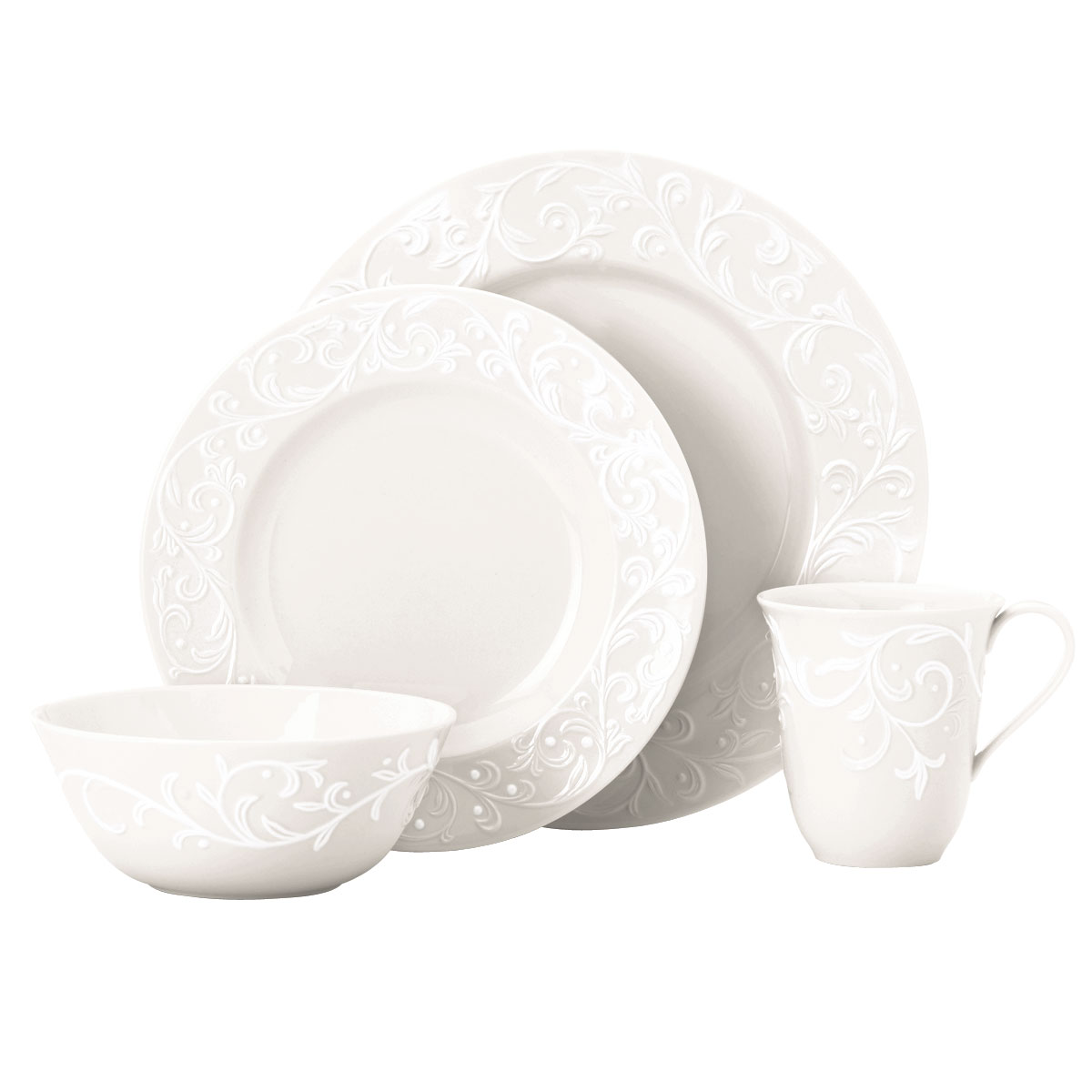 Lenox China Opal Innocence Carved, 4 Piece Place Setting