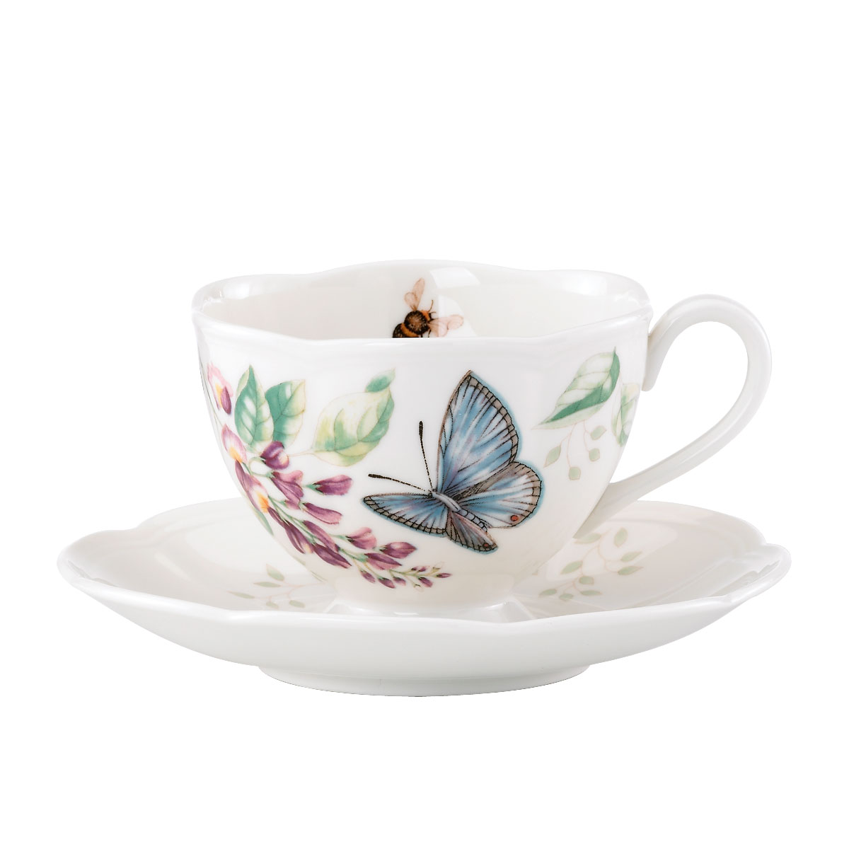Lenox Butterfly Meadow Dinnerware Blue Butterlfy Cup And Saucer
