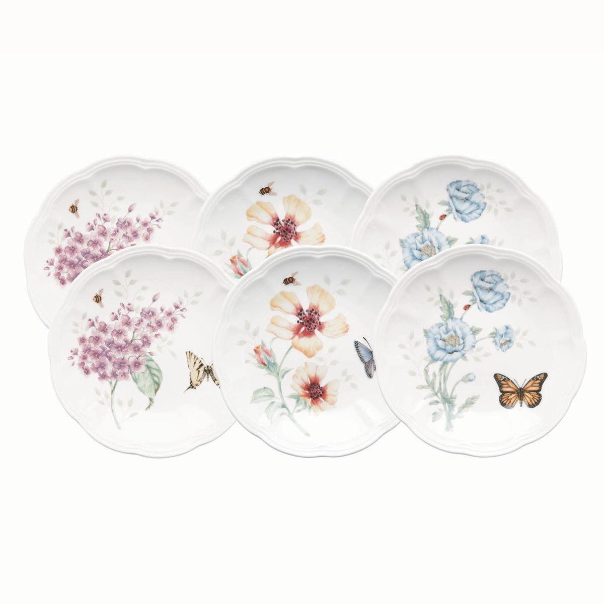 Lenox Butterfly Meadow Dinnerware Party Plates Set Of Six