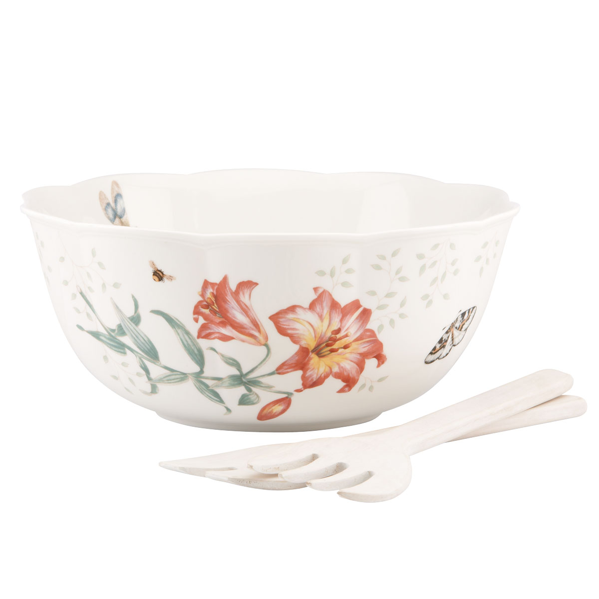 Lenox Butterfly Meadow Dinnerware Salad Bowl 3Pc Set