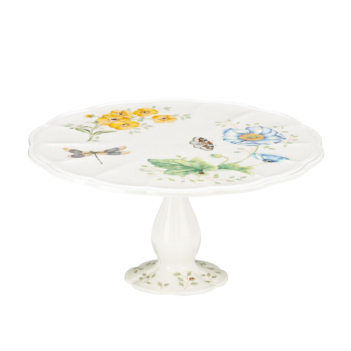 """Lenox Butterfly Meadow Dinnerware Pedestal Cake Plate 10"""""""