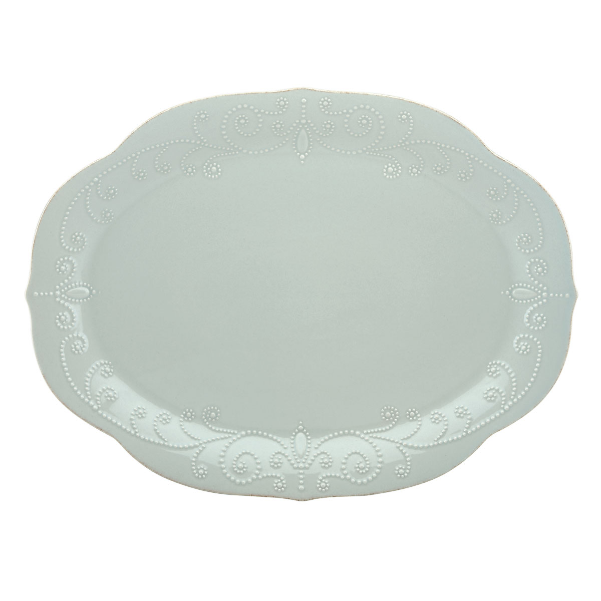 Lenox French Perle Blue Dinnerware Oval Platter 16""
