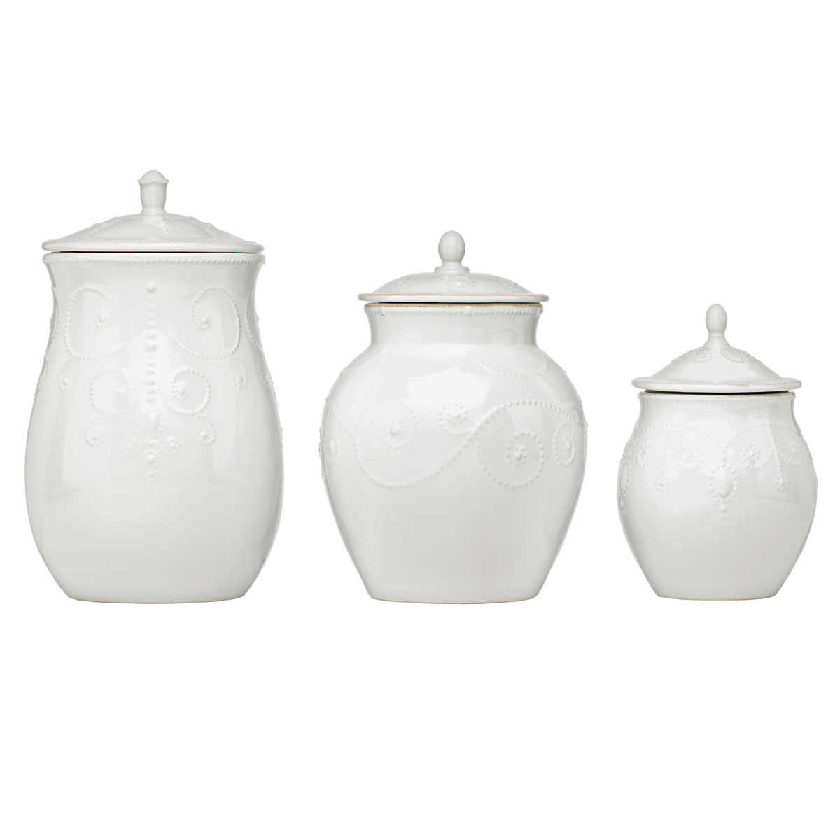 Lenox French Perle White Dinnerware Canisters Set Of Three