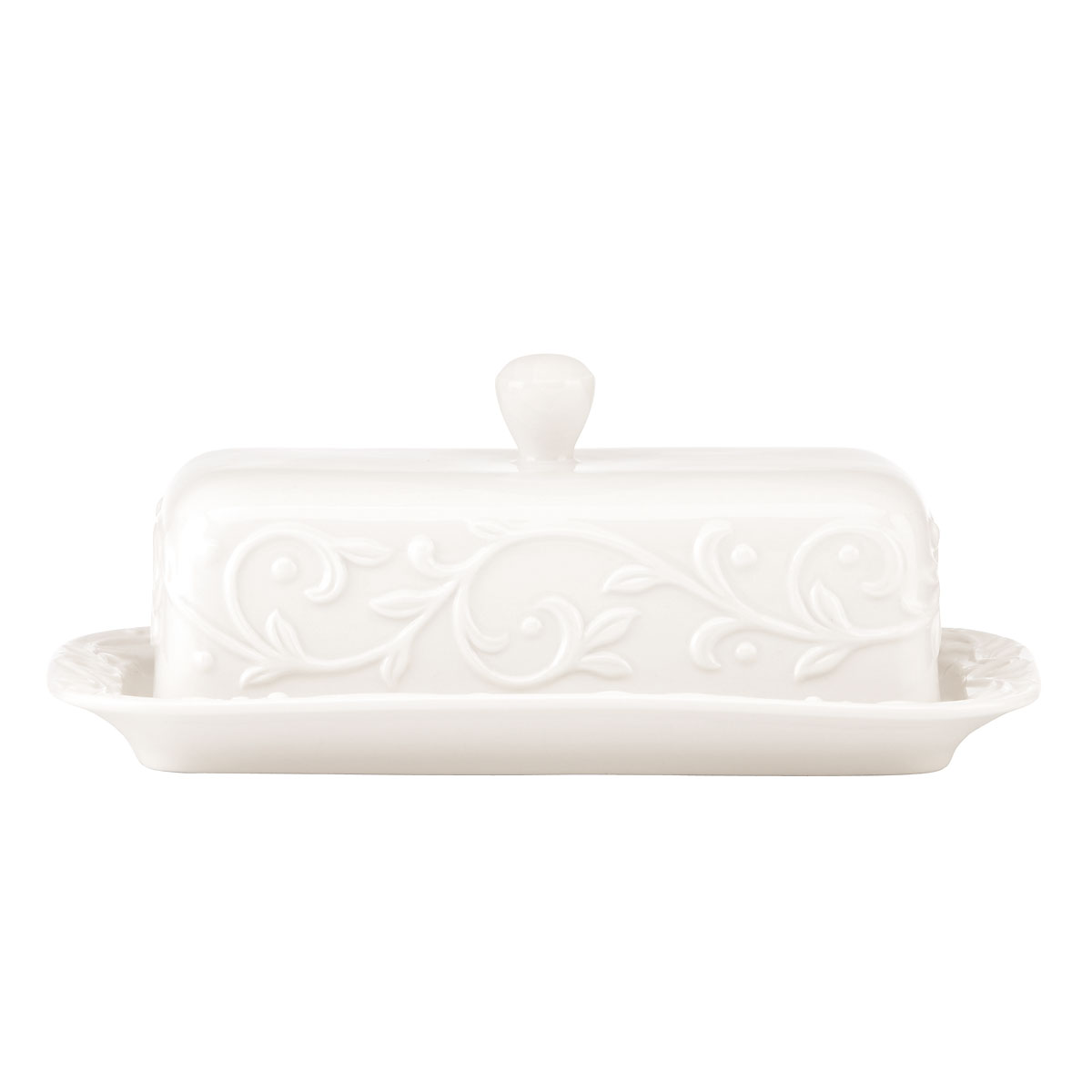 Lenox Opal Innocence Carved Dinnerware Covered Butter Dish