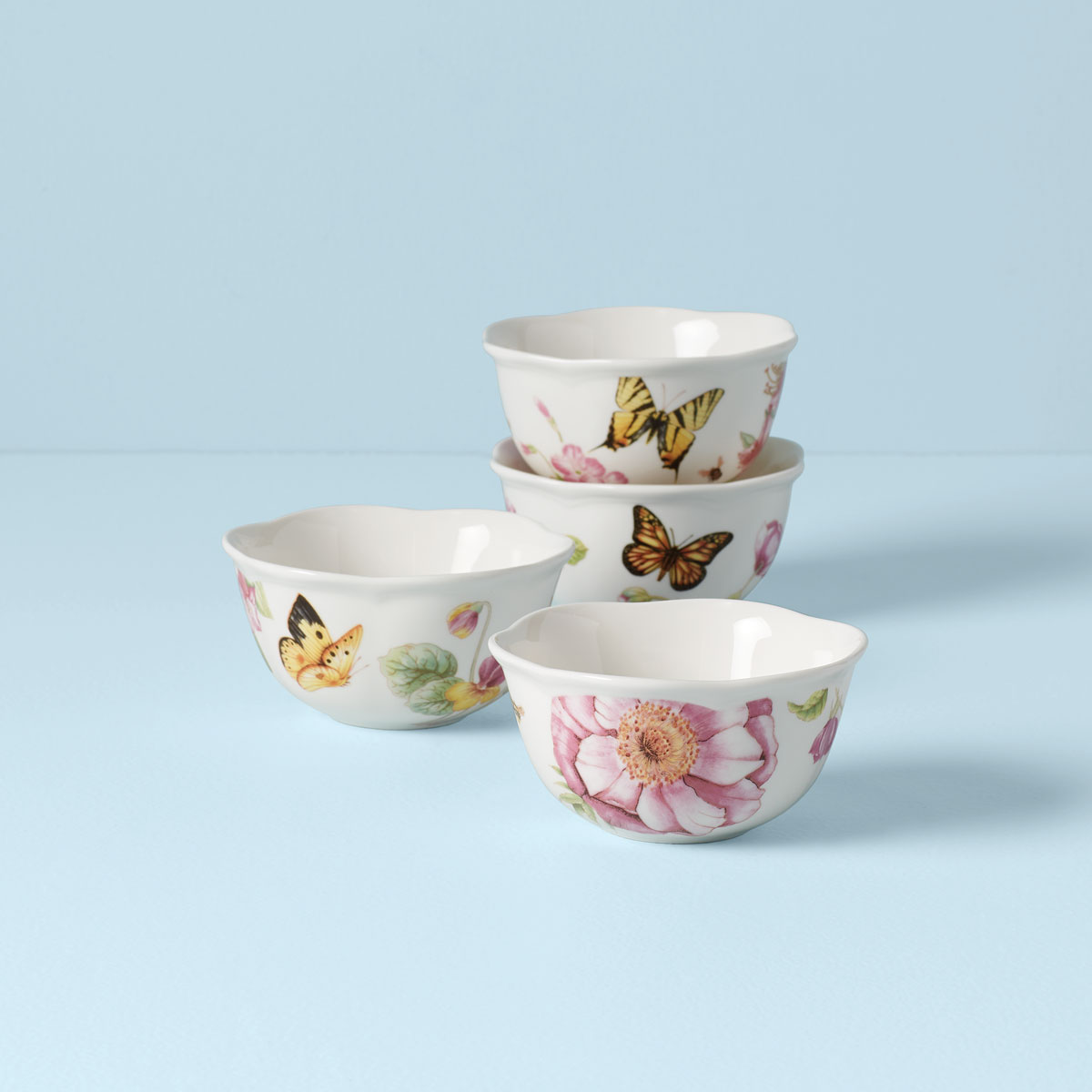 Lenox Butterfly Meadow Bloom Dinnerware Dessert Bowl Set Of 4