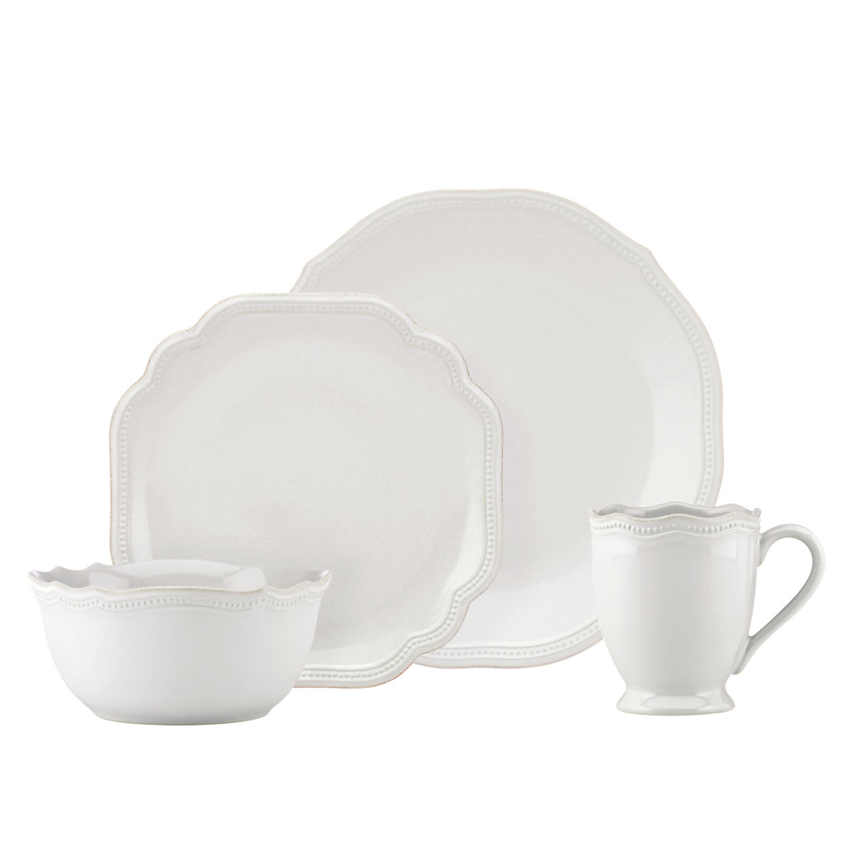 Lenox French Perle Bead White Dinnerware 4 Piece Place Setting