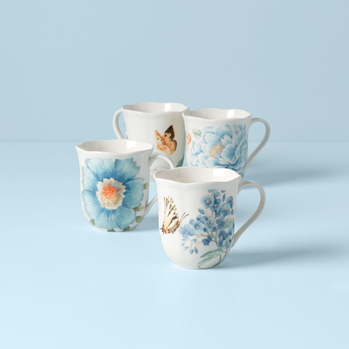 Lenox Butterfly Meadow Blue Dinnerware Mugs Set Of Four