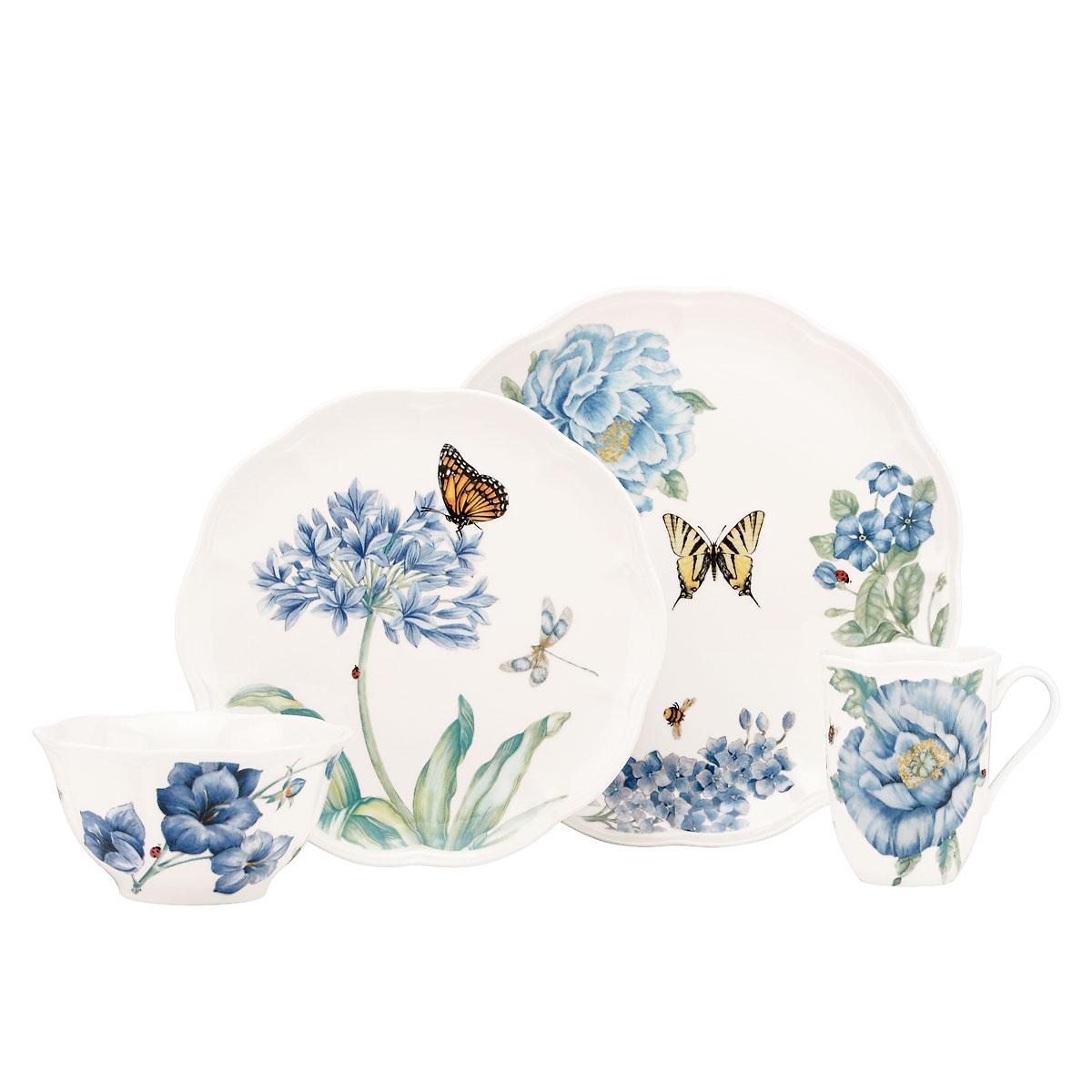 Lenox Butterfly Meadow Blue Dinnerware 4 Piece Place Setting