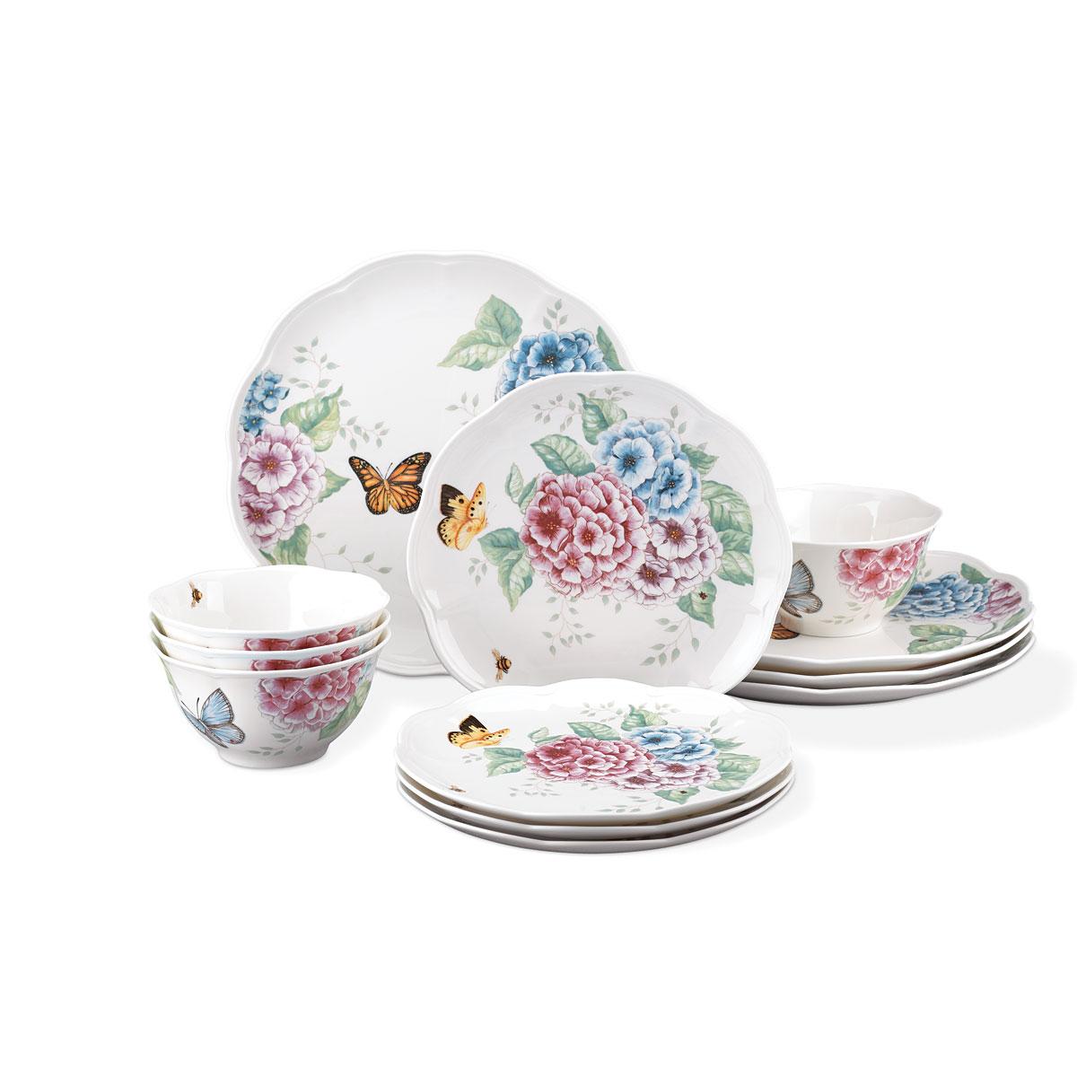 Lenox China Butterfly Meadow Hydrangea 12 Piece Set