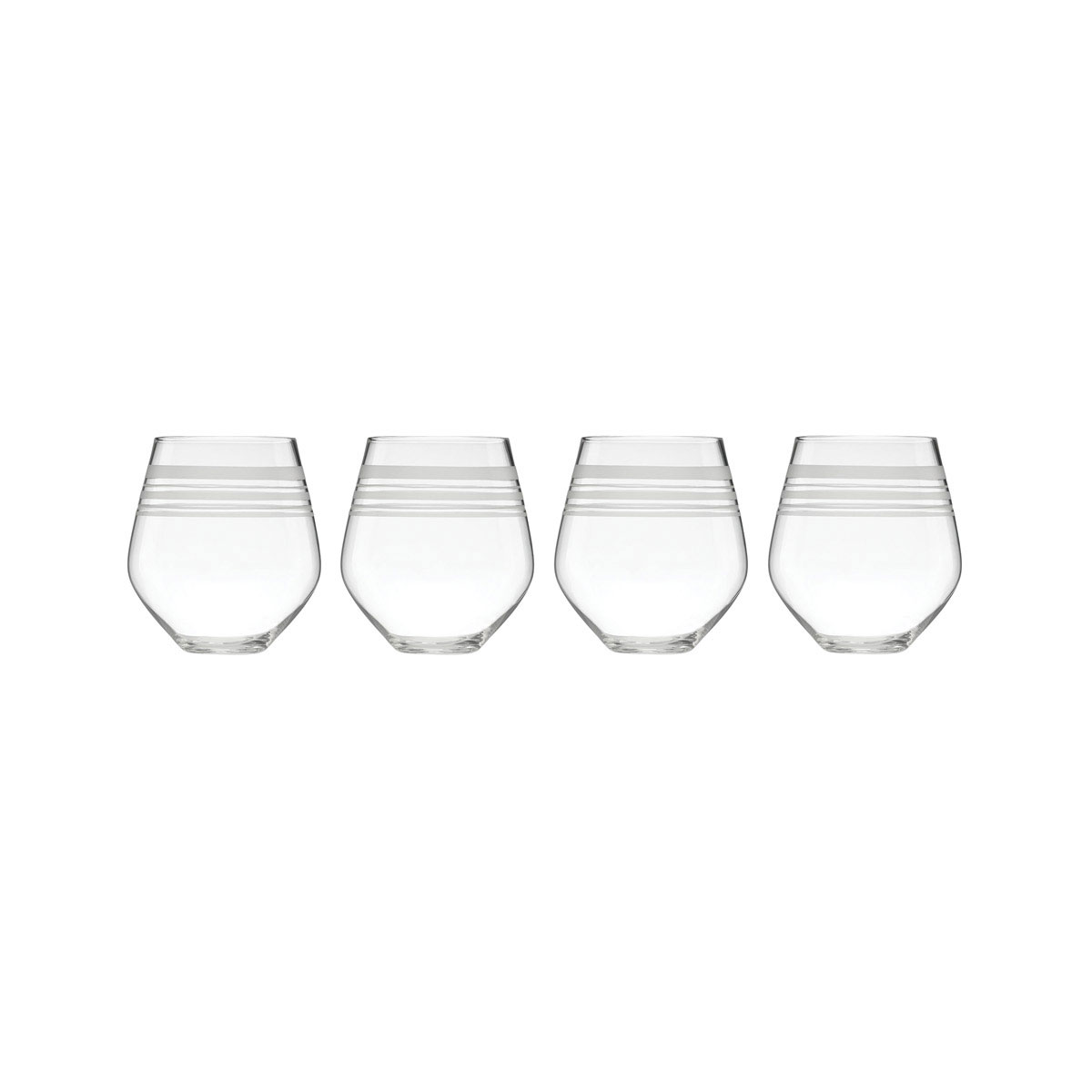Kate Spade New York, Lenox Library Stripe Stemless Crystal Red Wine, Set of 4