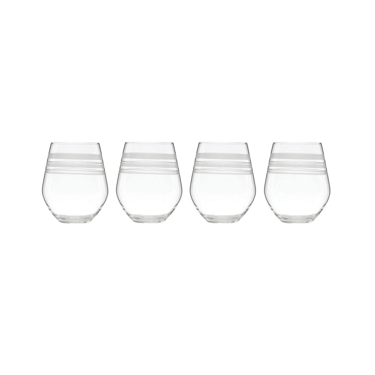 Kate Spade New York, Lenox Library Stripe Stemless Crystal White Wine, Set of 4