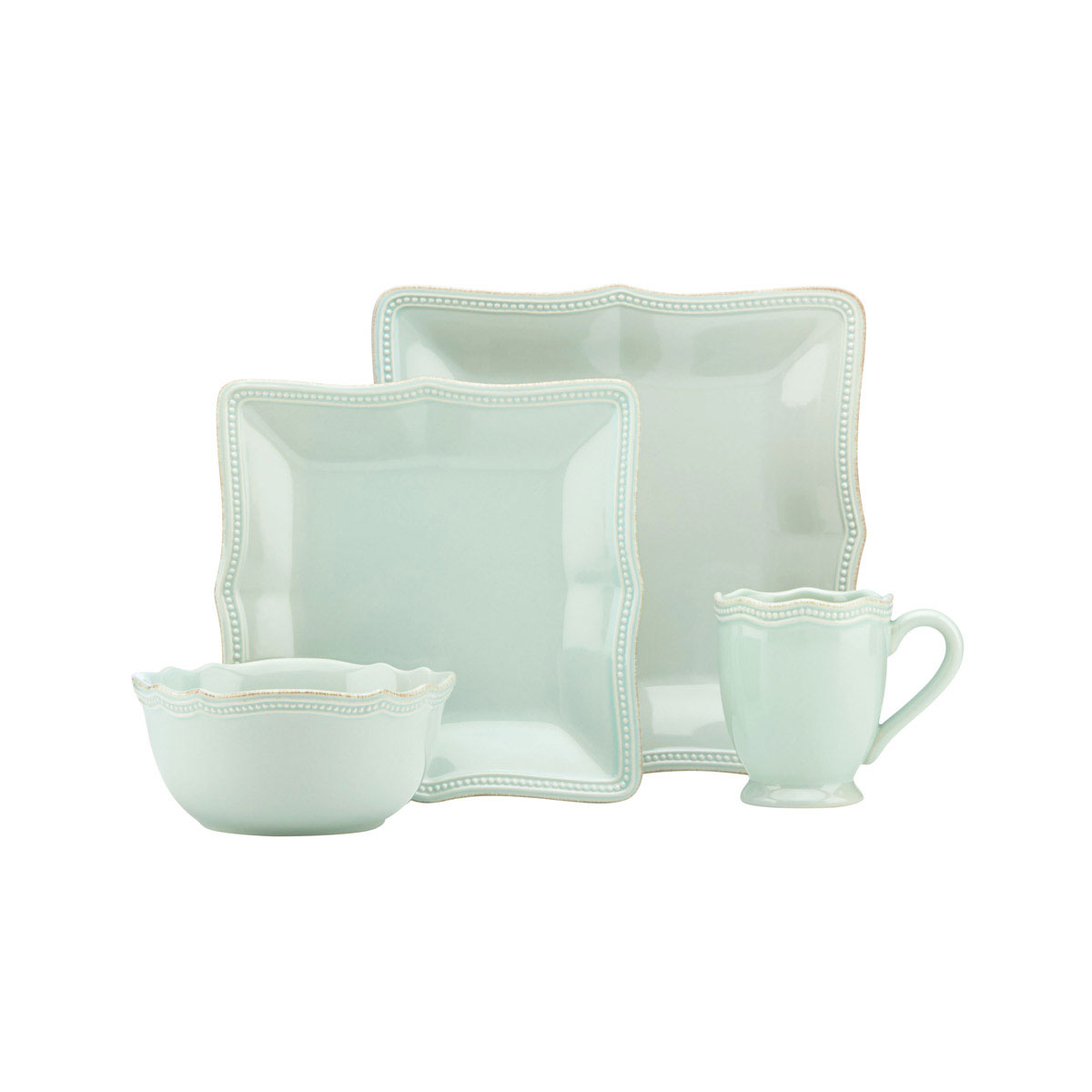 Lenox French Perle Bead Ice Blue Square, 4 Piece Place Setting