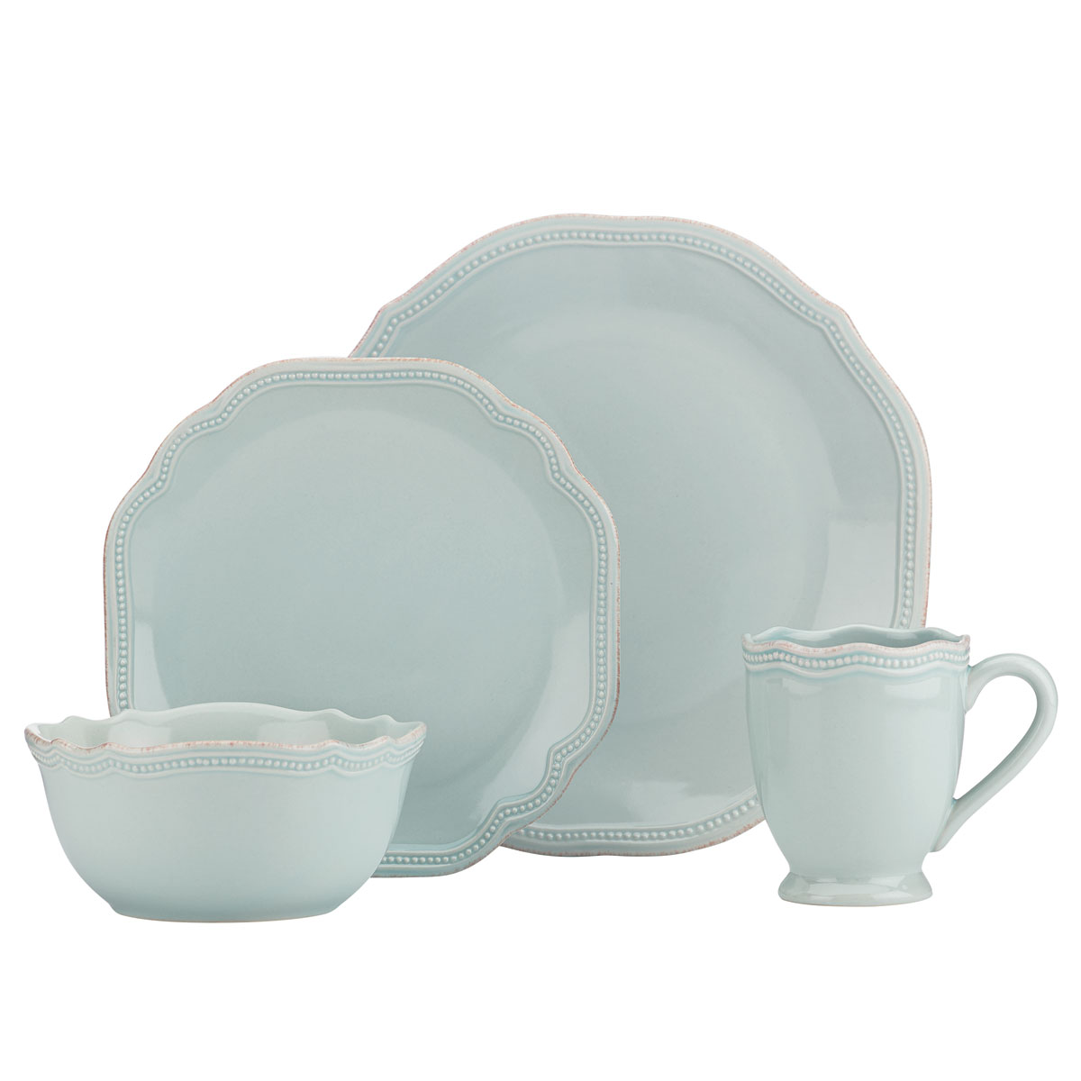 Lenox French Perle Bead Ice Blue Round, 4 Piece Place Setting