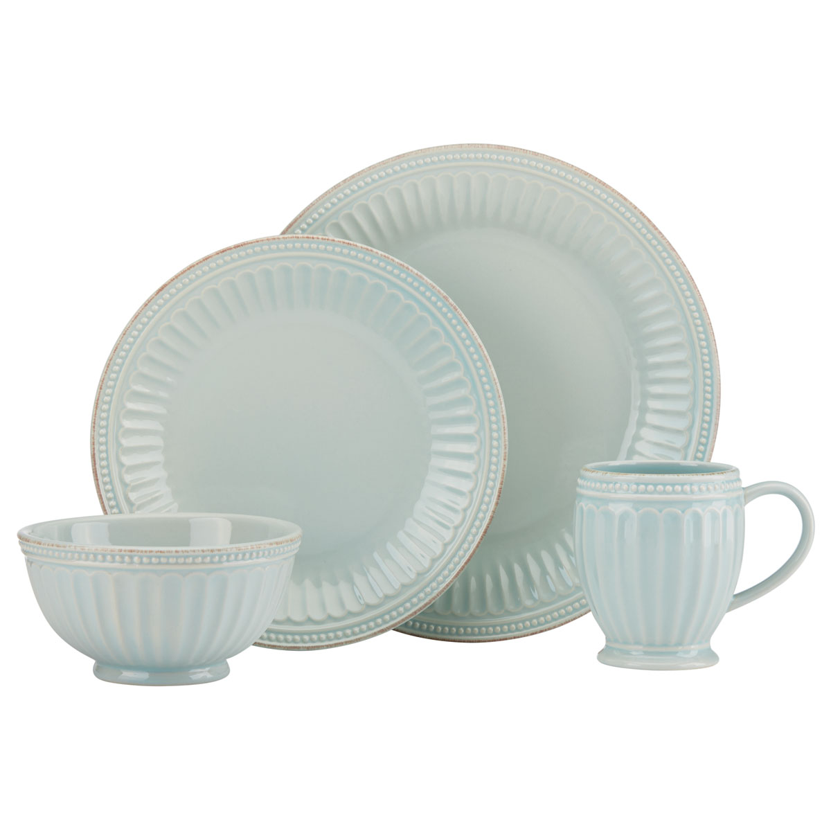 Lenox French Perle Groove Ice Blue Dinnerware 4 Piece Place Setting