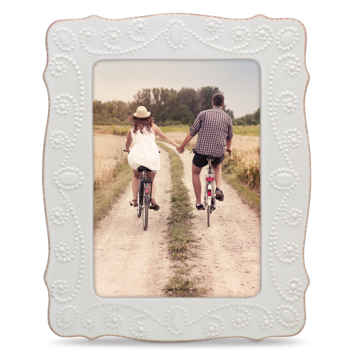"""Lenox French Perle White 5X7"""" Picture Frame"""