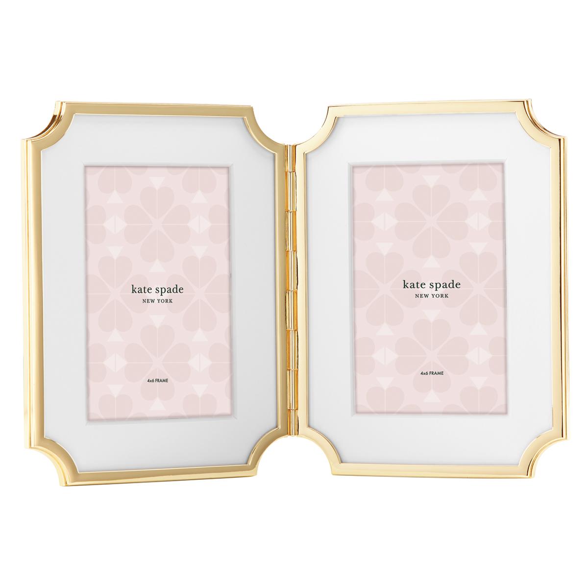 Kate Spade New York, Lenox Sullivan St Gold 4x6 Hinged Double Frame