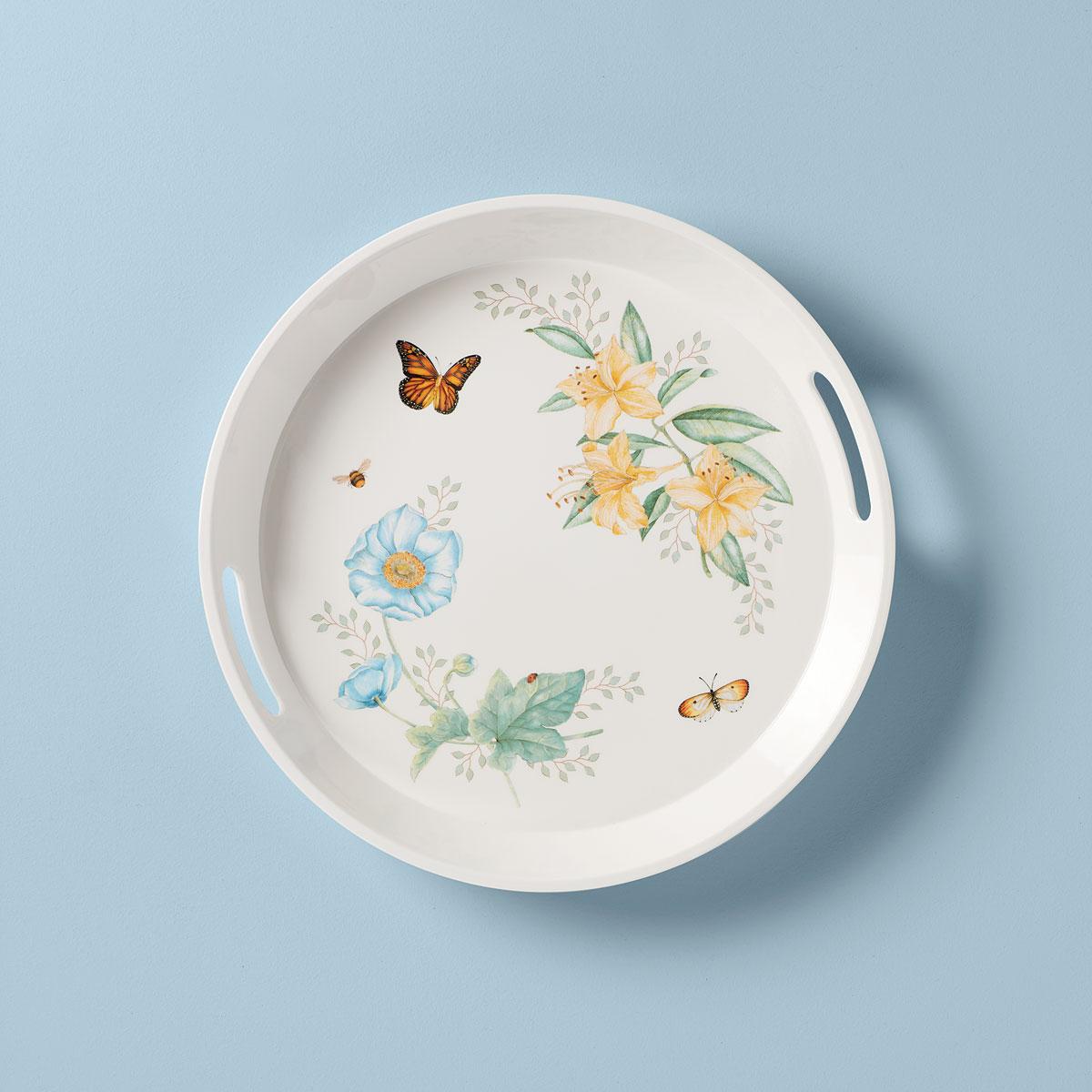 Lenox Butterfly Meadow Melamine Dinnerware Round Tray