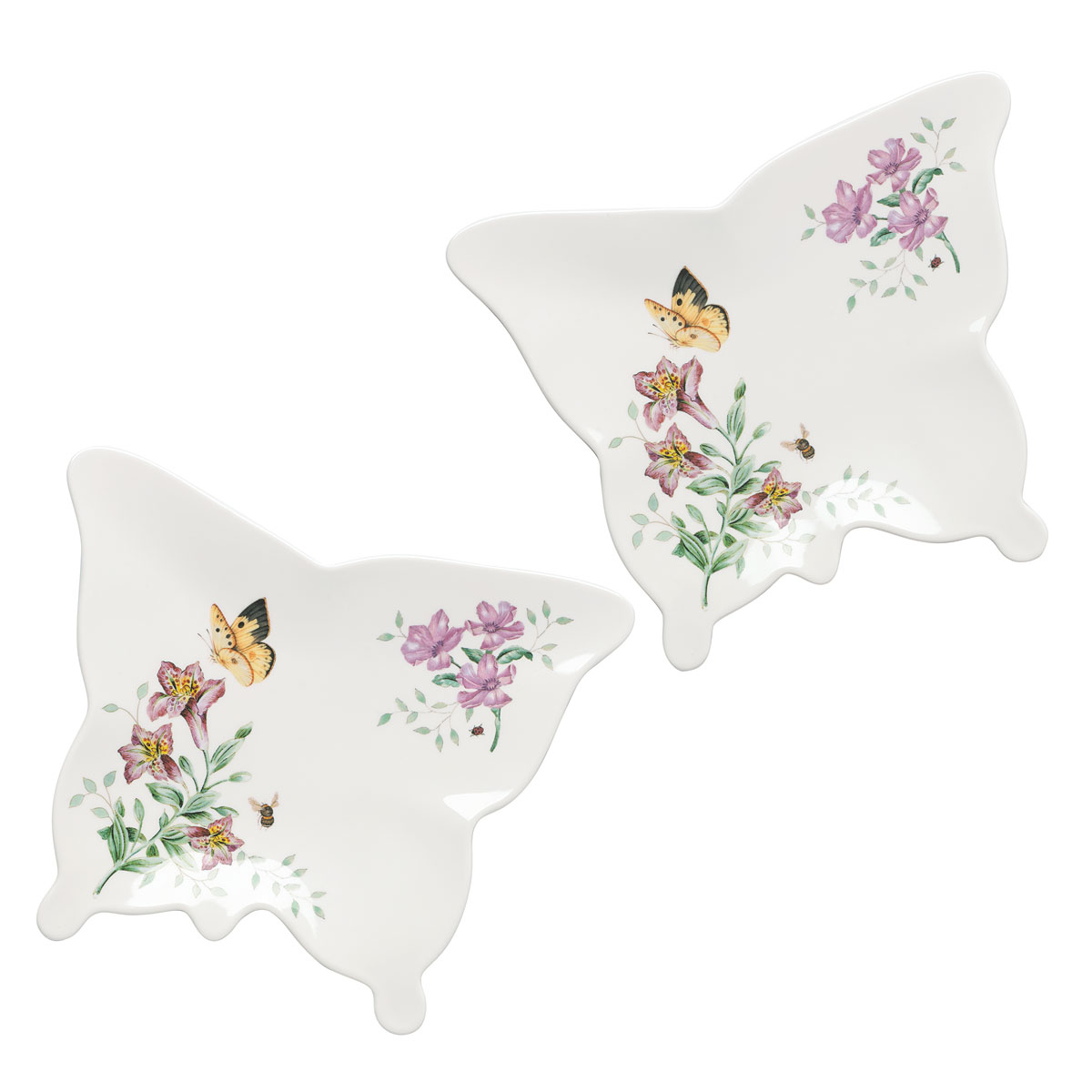 Lenox Butterfly Meadow Melamine Dinnerware Butterlfy Tray Pair