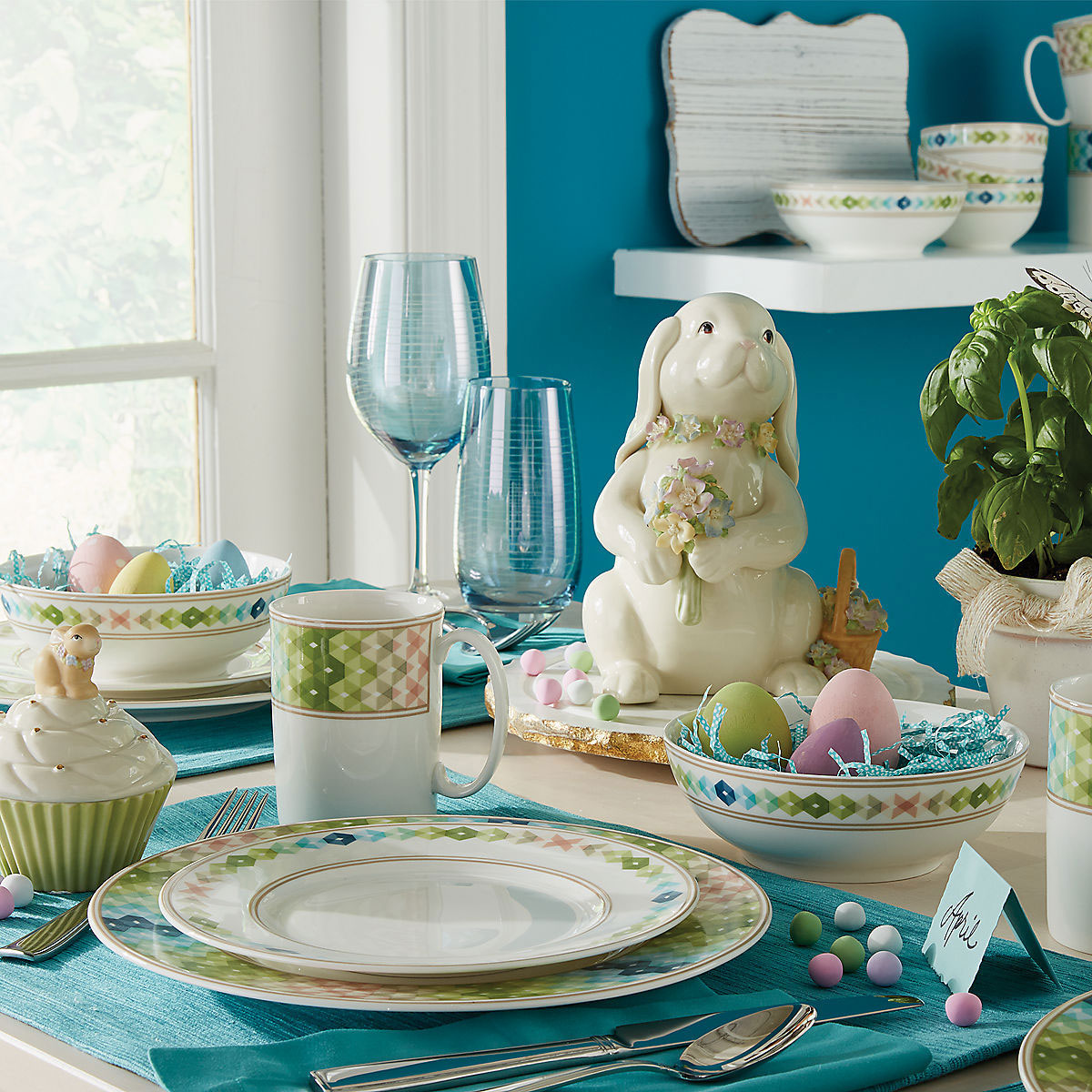 Lenox China Entertain 365 Sculpture Green and Blue 4 Piece Place Setting