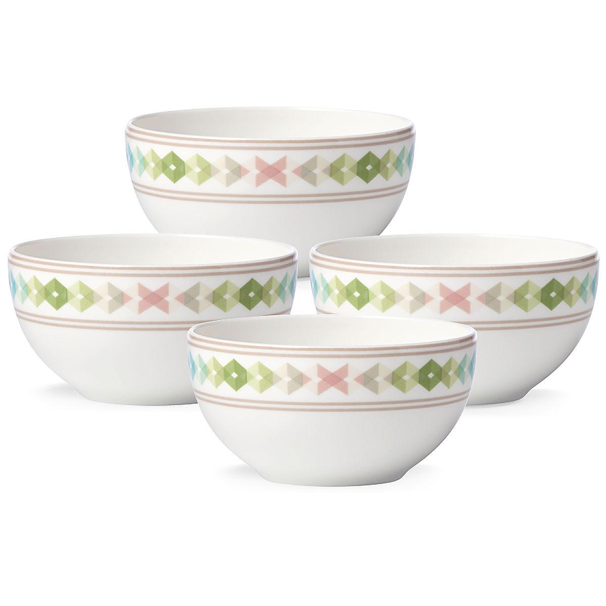 Lenox China Entertain 365 Sculpture Green and Blue Dessert Bowls, Set of 4