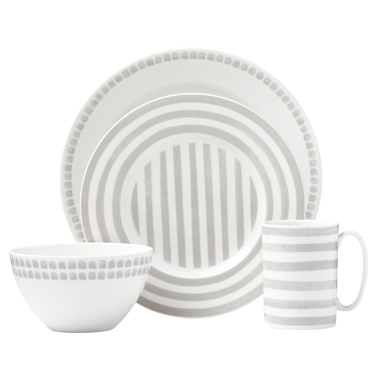 Kate Spade China by Lenox, Charlotte St North Grey 4 Piece Place Setting