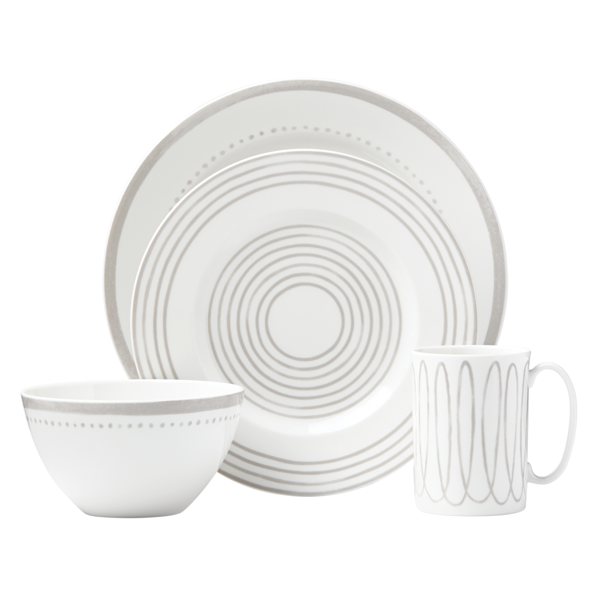 Kate Spade China by Lenox, Charlotte St West Grey 4 Piece Place Setting