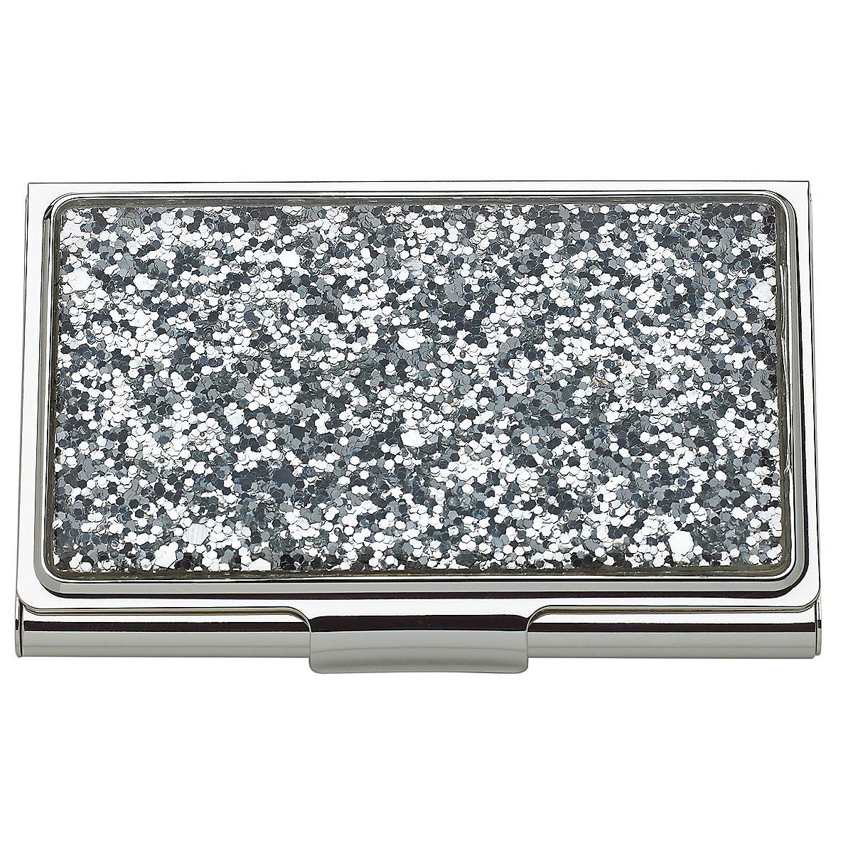 Kate Spade New York, Lenox Simply Sparkling Silver Glitter Business Card Holder