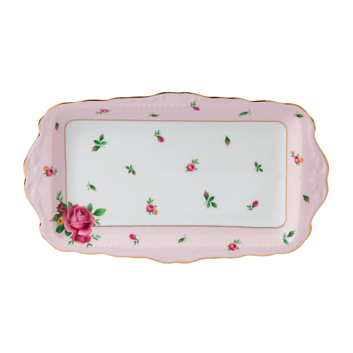 Royal Albert China New Country Roses Pink, Vintage Formal Sandwich Tray