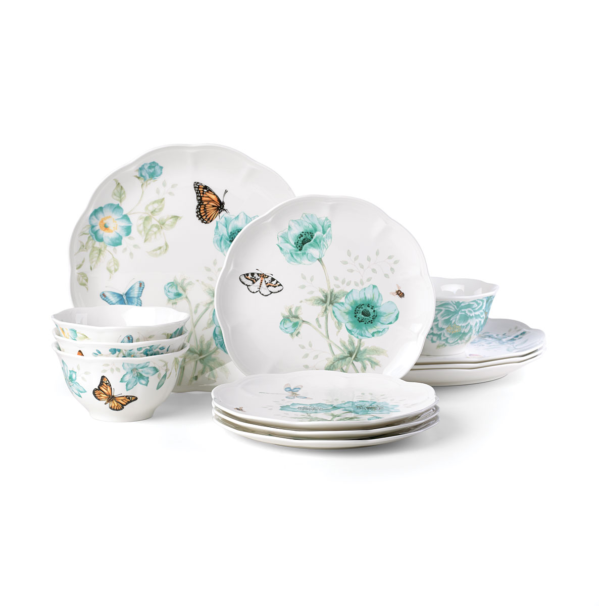 Lenox Butterfly Meadow Turquoise Dinnerware 12 piece set