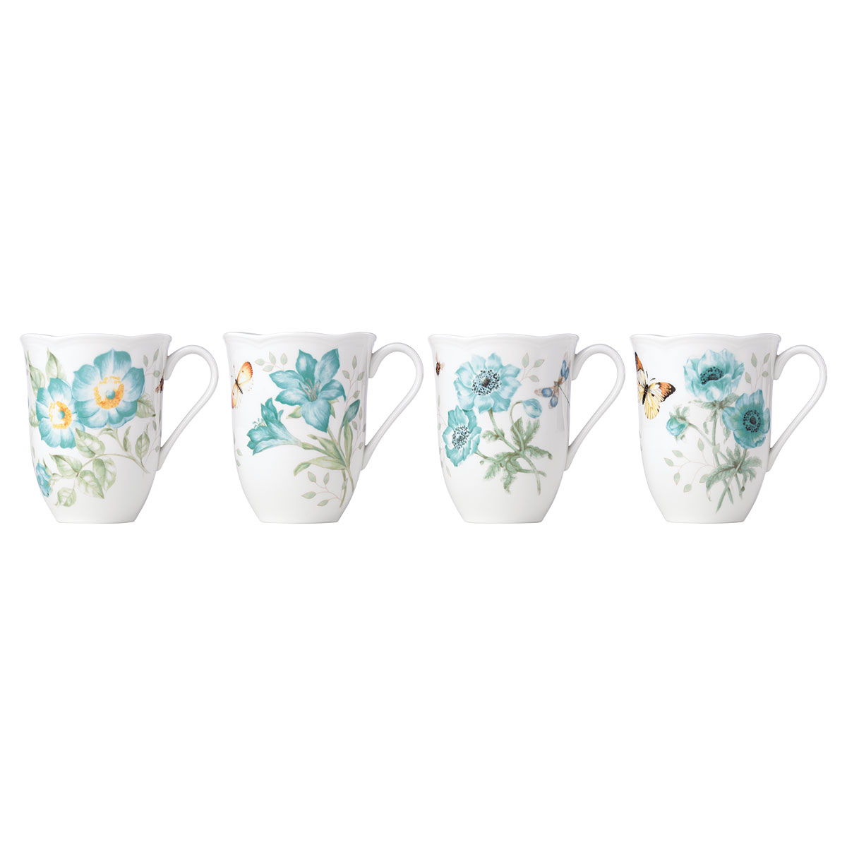 Lenox Butterfly Meadow Turquoise Dinnerware Mugs Set Of Four