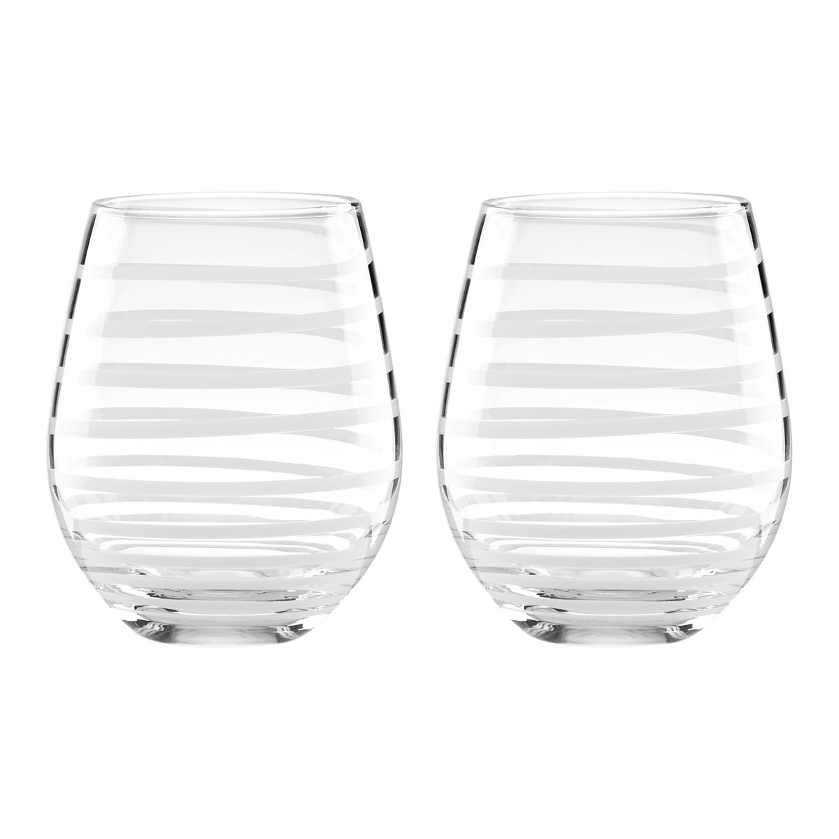 Kate Spade New York, Lenox Charlotte St White Stemless Wine Pair