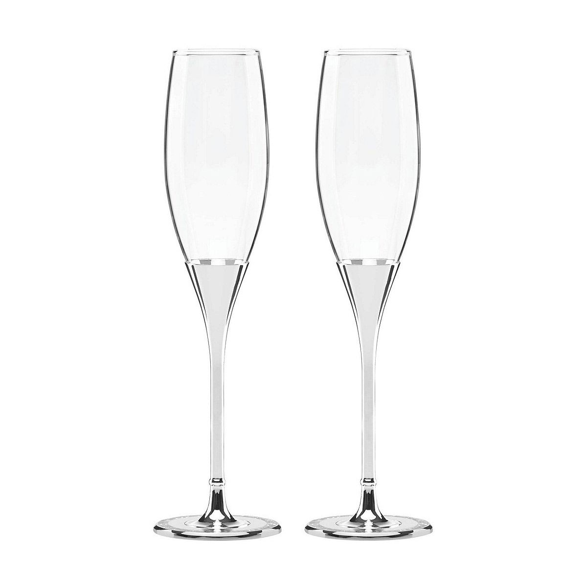 Kate Spade New York, Lenox Simply Sparkling Silver Champagne Crystal Flutes, Pair