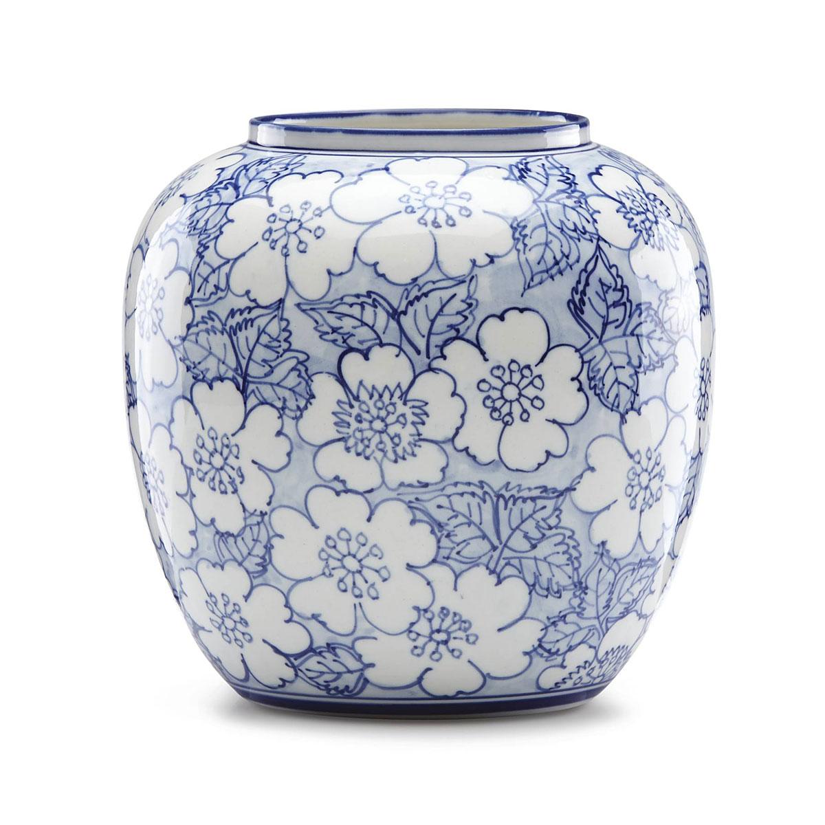 Lenox China Painted Indigo Floral Round Vase