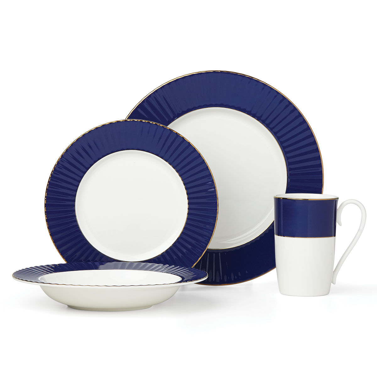 Lenox Pleated Colors Navy Dinnerware 4 Piece Place Setting