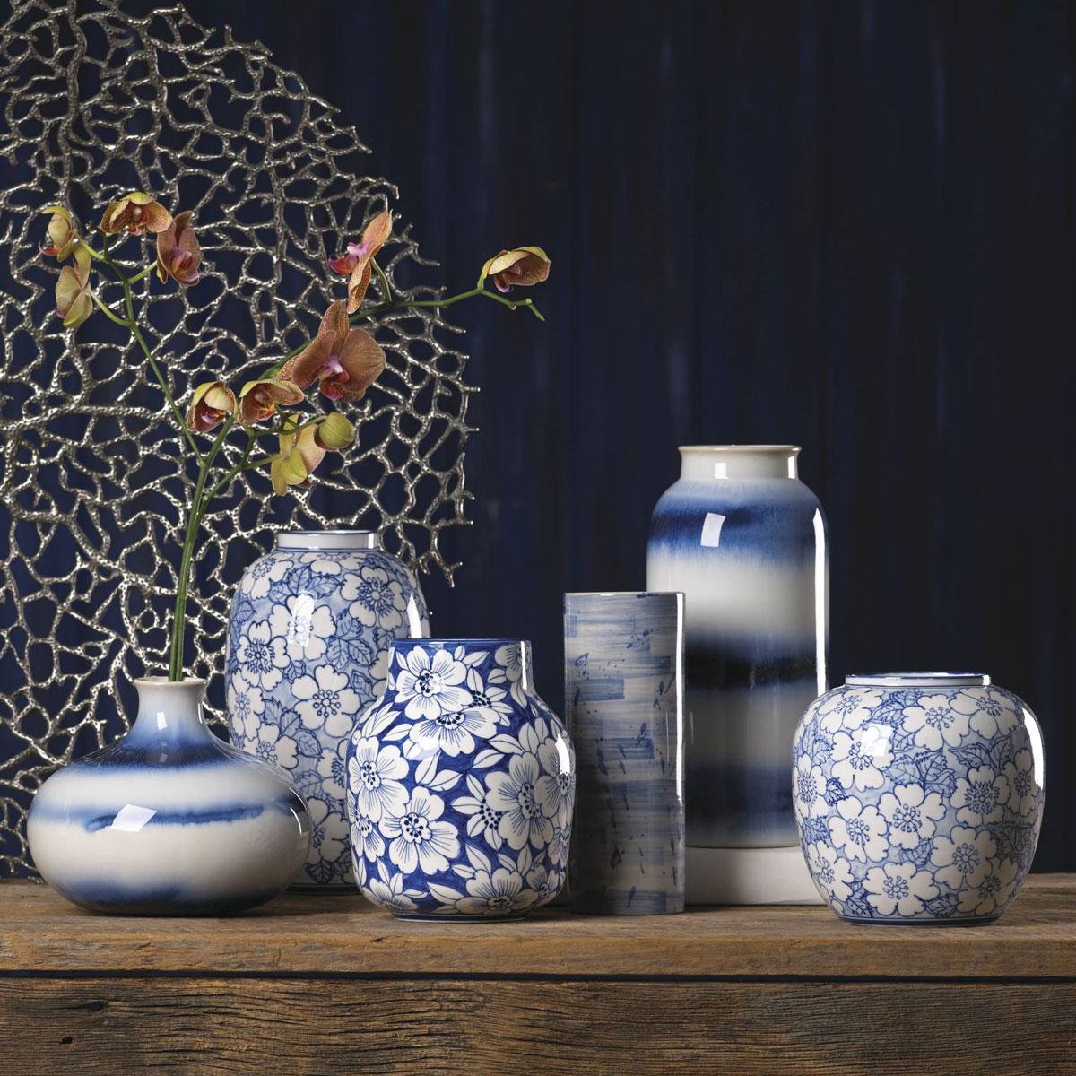 Lenox China Painted Indigo Drip Glaze Low Vase