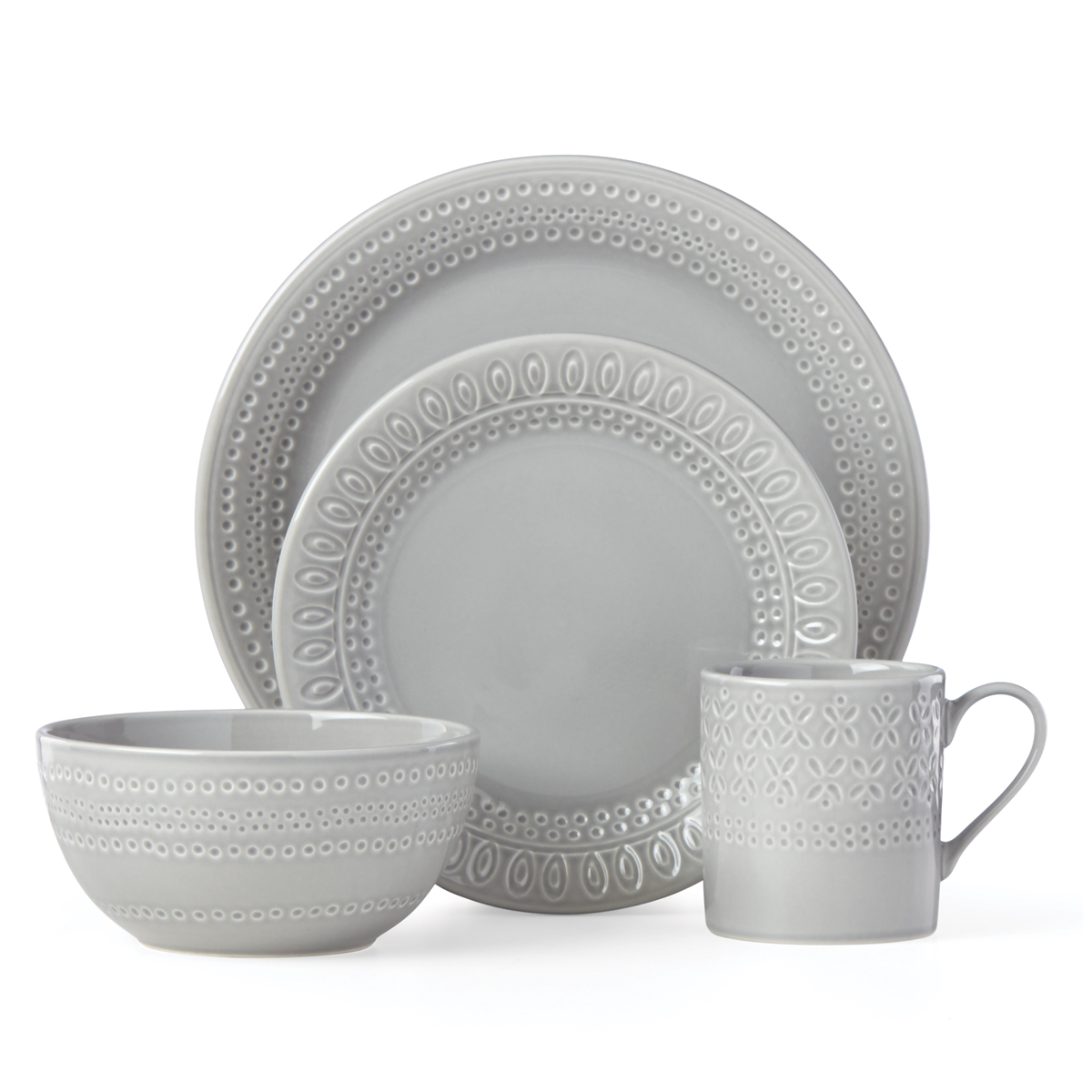 Kate Spade China by Lenox, Stoneware Willow Drive Grey 4pc Place Setting