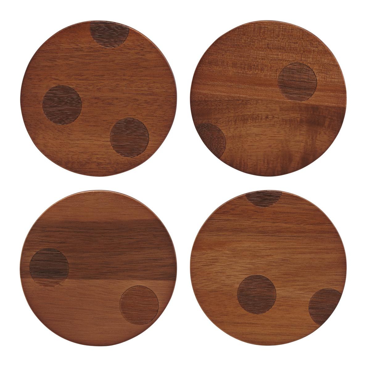 Kate Spade by Lenox, Deco Dot Wood Coasters Set Of Four