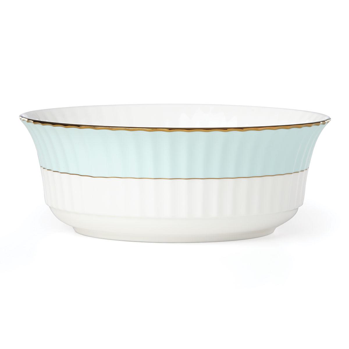 Lenox Pleated Colors Aquamarine Dinnerware Serving Bowl