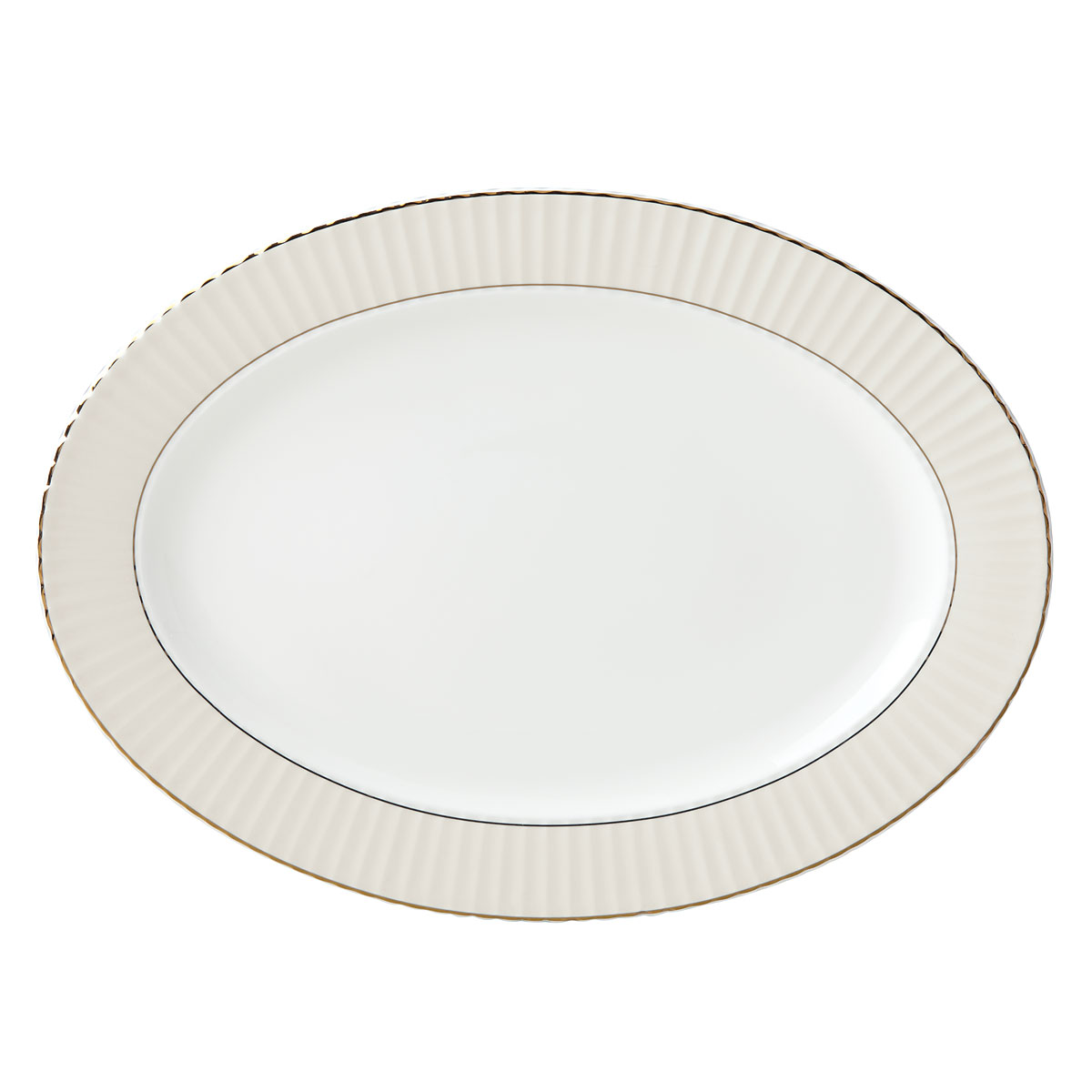 "Lenox Pleated Colors Grey Dinnerware Platter 16"""