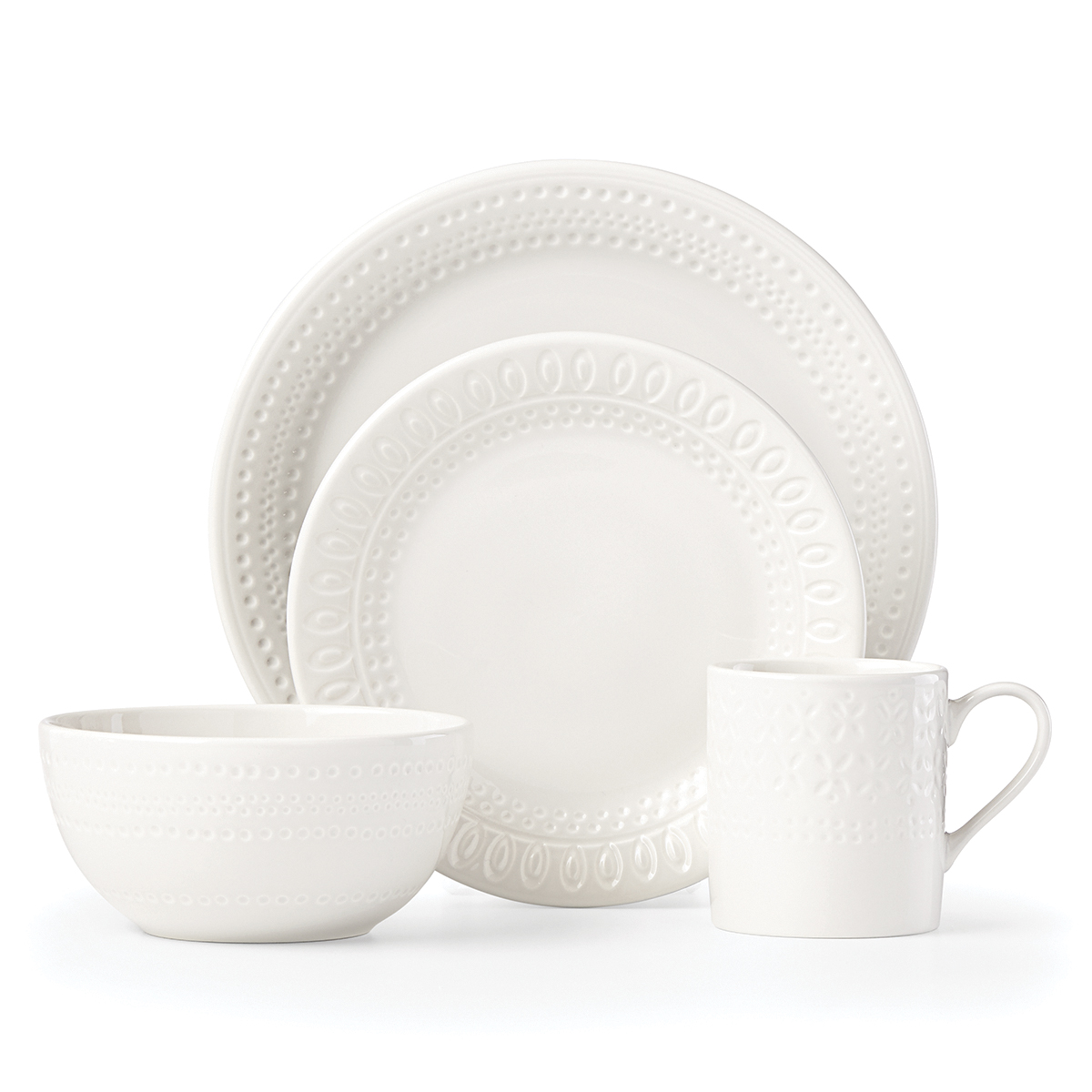 Kate Spade China by Lenox, Stoneware Willow Drive Cream 4pc Place Setting