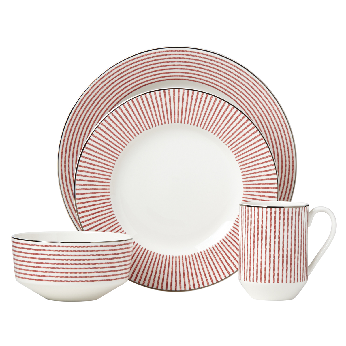 Kate Spade China by Lenox, Laurel St Red 4 Piece Place Setting