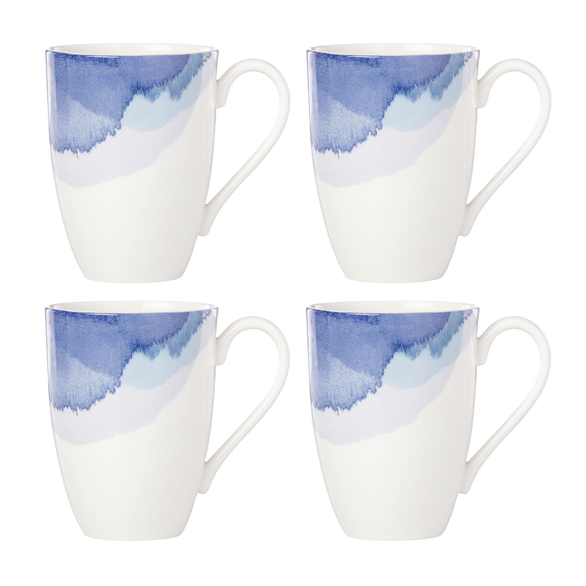 Lenox Indigo Wtrclr Stripe Dinnerware Mug Set Of Four