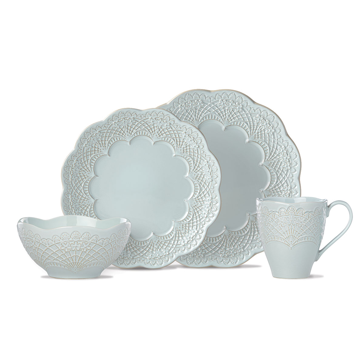 Lenox Chelse Muse Dinnerware Scallop Blue 4 Piece Place Setting